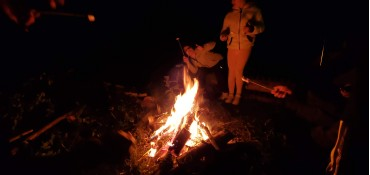 campfire at the pond
